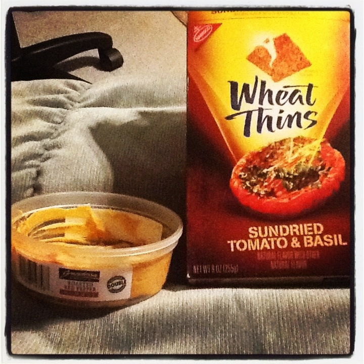 ... roasted red pepper hummus AND wheat thins sundried tomato and basil
