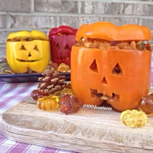 jack o lantern peppers with pumpkin chili