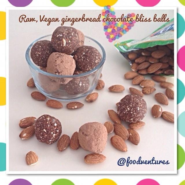 raw vegan chocolate gingerbread bliss balls