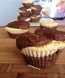 chocolate muffins with peanut butter protein cheesecake filling